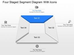 Four Staged Segment Diagram With Icons Powerpoint Template Slide
