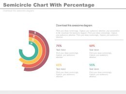 Four Staged Semicircle Chart With Percentage Powerpoint Slides