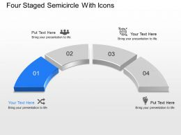 Four Staged Semicircle With Icons Powerpoint Template Slide