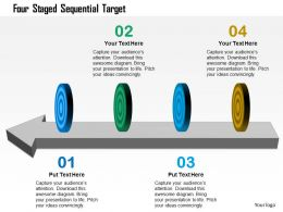 Four Staged Sequential Target Powerpoint Template