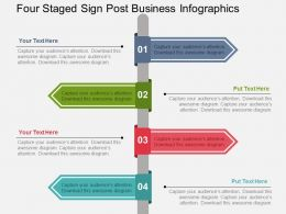 Four Staged Sign Post Business Infographics Flat Powerpoint Design