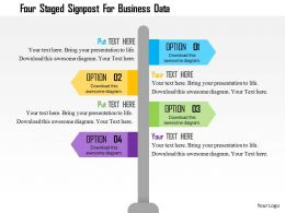 four_staged_signpost_for_business_data_flat_powerpoint_design_Slide01