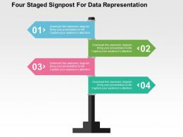 four_staged_signpost_for_data_representation_flat_powerpoint_design_Slide01