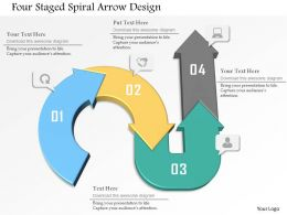 Four Staged Spiral Arrow Design Powerpoint Template