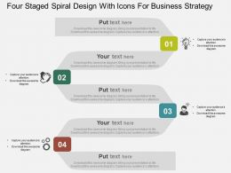Four Staged Spiral Design With Icons For Business Strategy Flat Powerpoint Design