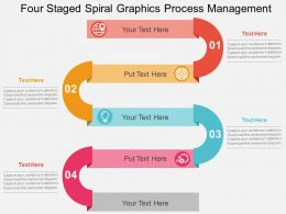Four Staged Spiral Graphics Process Management Flat Powerpoint Design