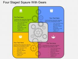 Four Staged Sqaure With Gears Flat Powerpoint Design