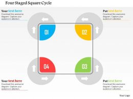 Four Staged Square Cycle Flat Powerpoint Design