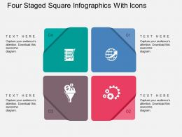 Four Staged Square Infographics With Icons Flat Powerpoint Design