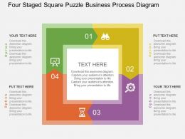 Four Staged Square Puzzle Business Process Diagram Flat Powerpoint Design