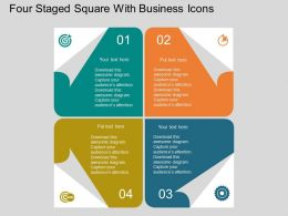 Four Staged Square With Business Icons Flat Powerpoint Design