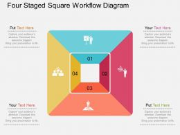 Four Staged Square Workflow Diagram Flat Powerpoint Design