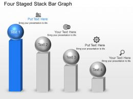 Four Staged Stack Bar Graph Powerpoint Template Slide