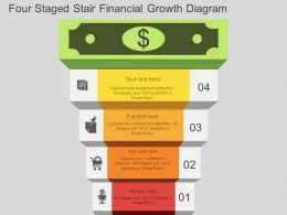 Four Staged Stair Financial Growth Diagram Flat Powerpoint Design