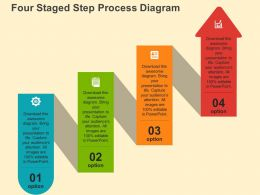 Four Staged Step Process Digram Flat Powerpoint Design