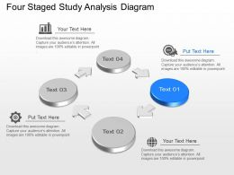 Four Staged Study Analysis Diagram Powerpoint Template Slide