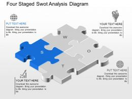 Four Staged Swot Analysis Diagram Powerpoint Template Slide