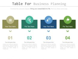Four Staged Table For Business Planning Powerpoint Slides
