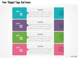 Four Staged Tags And Icons Flat Powerpoint Design