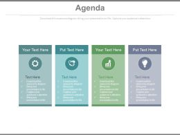 Four Staged Tags And Icons For Business Agenda Application Powerpoint Slides