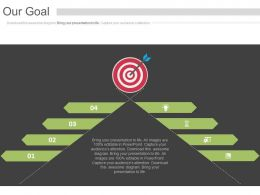 four_staged_tags_and_target_board_for_our_goal_powerpoint_slides_Slide01