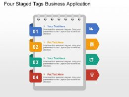 Four Staged Tags Business Application Flat Powerpoint Design