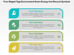 Four Staged Tags Environment Green Energy And Recycle Symbols Flat Powerpoint Design