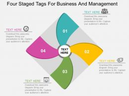 Four Staged Tags For Business And Management Flat Powerpoint Design