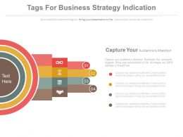Four Staged Tags For Business Strategy Indication Flat Powerpoint Design