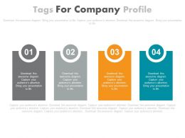 Four Staged Tags For Company Profile Powerpoint Slides