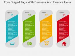 Four Staged Tags With Business And Finance Icons Flat Powerpoint Design