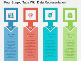 Four Staged Tags With Data Representation Flat Powerpoint Design