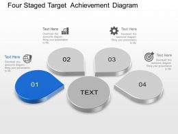 Four Staged Target Achievement Diagram Powerpoint Template Slide