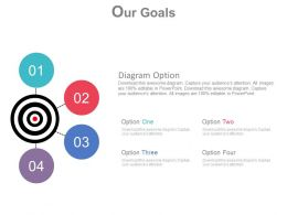 Four Staged Target Dart For Business Goal Achievement Powerpoint Slides