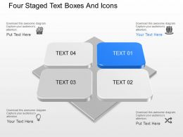 Four Staged Text Boxes And Icons Powerpoint Template Slide