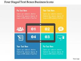 Four Staged Text Boxes Business Icons Flat Powerpoint Design