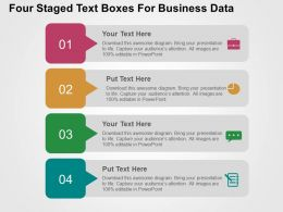 Four Staged Text Boxes For Business Data Flat Powerpoint Design