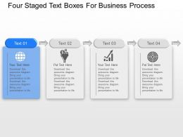Four Staged Text Boxes For Business Process Powerpoint Template Slide