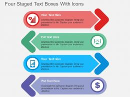 Four Staged Text Boxes With Icons Flat Powerpoint Design