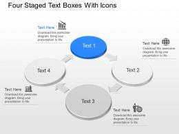 Four Staged Text Boxes With Icons Powerpoint Template Slide
