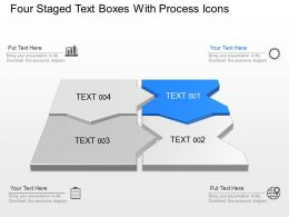 Four Staged Text Boxes With Process Icons Powerpoint Template Slide