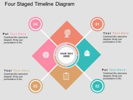 Four Staged Timeline Diagram Flat Powerpoint Design