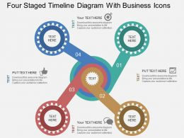 Four Staged Timeline Diagram With Business Icons Flat Powerpoint Desgin
