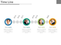 Four Staged Timeline For Business Employee Profile Powerpoint Slides