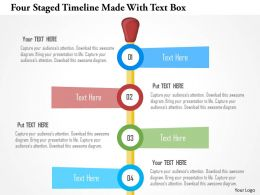 Four Staged Timeline Made With Text Box Flat Powerpoint Design