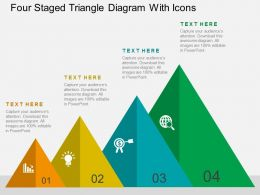 Four Staged Triangle Diagram With Icons Flat Powerpoint Design