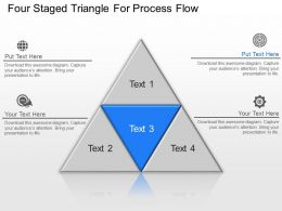 Four Staged Triangle For Process Flow Powerpoint Template Slide