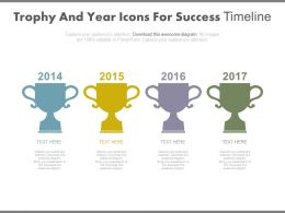 Four Staged Trophy And Year Icons For Success Timeline Powerpoint Slides