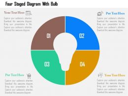 Four Staged Venn Diagram With Bulb Flat Powerpoint Design