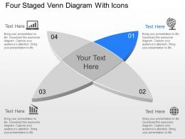 Four Staged Venn Diagram With Icons Powerpoint Template Slide